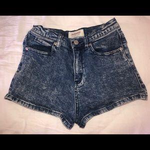 Afends Acidwash blue denim shorts